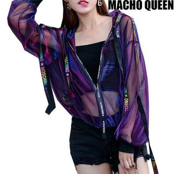 MDIGON Summer Rave Festival Wear Clothes Holographic Womens Hoodies Outfits Hologram Women Rainbow Metal Mesh Jacket Clothings