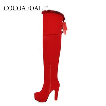 COCOAFOAL Women's Black Thigh High Boots Sexy Winter Red High Heel Shoes Plus Size 33 43 Butterfly Knot Over The Knee Boots 2018