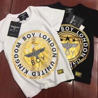 """Boy London"" Personality Bronzing Eagle Letter Pattern Print Casual Unisex Short Sleeve Couple Shirt Top Tee"