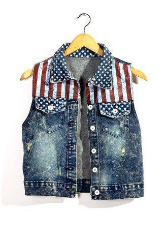 Retro American Flag Washed Denim Vest - New Arrivals - Retro, Indie and Unique Fashion