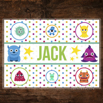 Large Personalized Placemat, Kids Placemat, Childrens Placemat, Aliens & Monsters, Rainbow, Toddler Table Place Mat, Play Mat