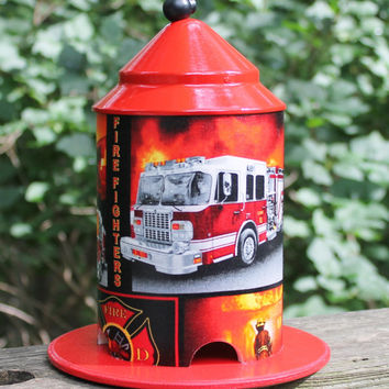 Firefighter Bird Feeder by Bird Feeder Guy.  Great Piece of Boys Room Decor or Garden Art.  Fire Engine, Ladder Truck, Fully Involved