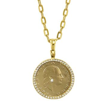 Diamond Bezel Italian Coin Necklace - Yellow Gold
