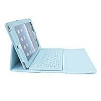 YIKING Booklet Synthetic Leather Case Cover (Sky Blue) with Stand Mount + Wireless Bluetooth Keyboard for 1st Gen 2nd Generation Ipad 2/Ipad 3/ iPad 4 (4th Gen) -Apple iPad Tablet