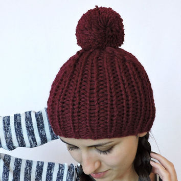 FREE SHIPPING Claret knit hat Beanie with pom pom Burgundy hand knitted hat Dark red Womens men winter hat Ski hat Unisex bobble hat