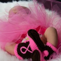 Baby Cowboy  Boots Black or Brown and Hot Pink by conniemariepfost