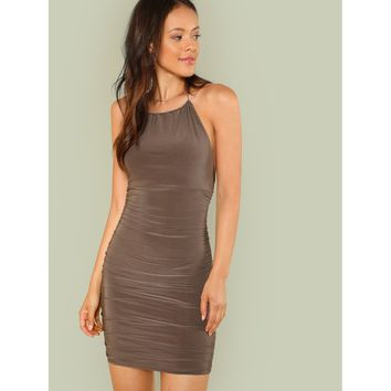 Halter Strap Ruched Mini Dress