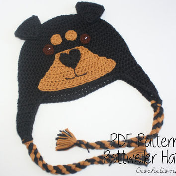 Crochet PATTERN - Rottweiler Hat / Dog Breed Beanie, Puppy Hat, Dog Hat - PATTERN ONLY