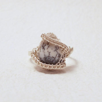 Merlinite opal ring, dendrite opal silver ring, merlinite opal adjustable ring, winter ring, gift for her