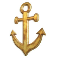 Gold Anchor Wall Decor distressed wall hanging hand painted in antiqued gold, shabby wooden anchor for chic beach decor