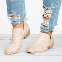 Distressed Ankle Booties - Stone