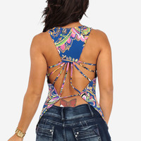 Blue Open Back Printed Top