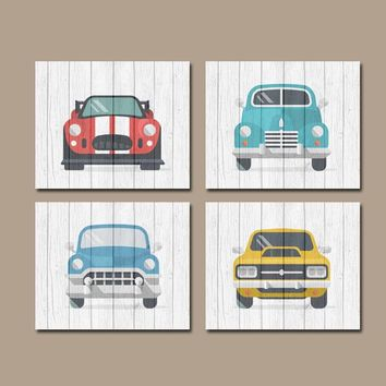 Classic CARS Wall Art, Baby Boy Nursery Art, Retro Cars, Vintage Antique Cars, Transportation Theme, Set of 4, Canvas or Print Wall Decor