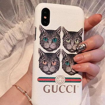 GUCCI Trending Women Men Stylish Cute Cat Pattern iPhone Phone Cover Case For iPhone X phone Shell 6s iPhone 8plus White I12072-1