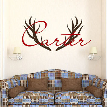 Deer Horns Wall Decal Boy Custom Personalized Boys Name Decor Hunting Vinyl Decal Kids Teens Boys Room Wall Decal Nursery T116