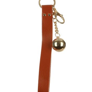 Brown Faux Leather Strap Bag Accessory Key Chain