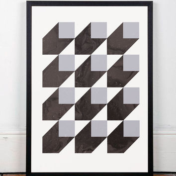 Geometric poster, Modern print, Black and white, Monochrome poster, Wall print, Wall art, Mid century modern, Minimalist art, Abstract art