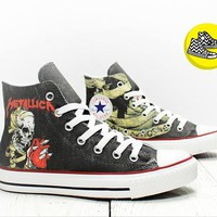 Metallica Heart Explosive custom painted converse all star chucks rock style shoes