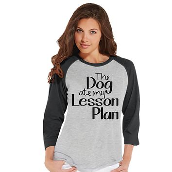 Funny Teacher Shirt - Dog Ate My Lesson Plan - Teacher Gift - Teacher Appreciation Gift - Teacher Appreciation - Gift for Teacher - Grey