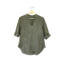vintage linen shirt. army green pullover blouse. modern minimalist. high low blouse smock shirt quarter sleeves grunge simple linen top S M