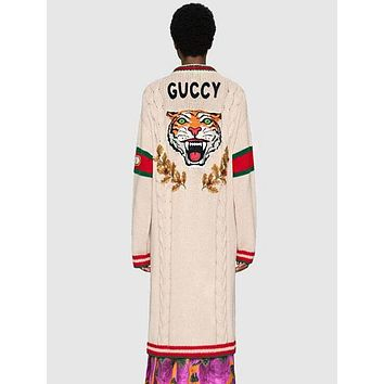 GUCCI Hot Sale Fashion Women Casual Tiger Head Jacquard Long Sleeve V Collar Knit Long Cardigan Jacket Coat
