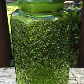 "vintage 12"" emerald green glass canister with lid, large green glass jar, mid century kitchen storage, textured green glass jar, home decor"