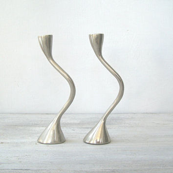 Vintage Modernist Pewter Candlestick Holders Unit, Minimalist Swirl Tall Candle Holders, Newlywed Wedding Gift Decor, Romantic Tableware