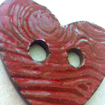 HUGE Heart Shape button handmade ceramic button glazed Red with wood grain texture Valentines Day knitters gift