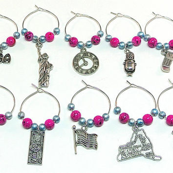New York City Wine Charms- 10 New York Wine Glass Tags, Wine Glass Accessories, Big Apple, Statue of Liberty Charm, Times Square Clock