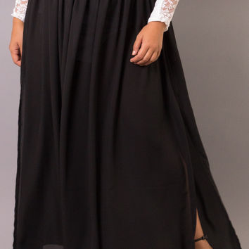 Plus Size Sheer Low-Slit Maxi Skirt | Black