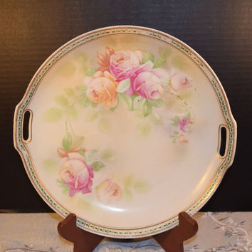 JSV Germany Floral Rose Serving Tray Plate Vintage Gold Double Handles Soft Pink Orange Rose Spray Tray Shabby Chic Cottage Chic Tray