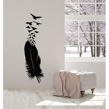 Vinyl Wall Decal Feather Ink Abstract Birds Pen Writer Bedroom Decor Stickers Mural (g681)