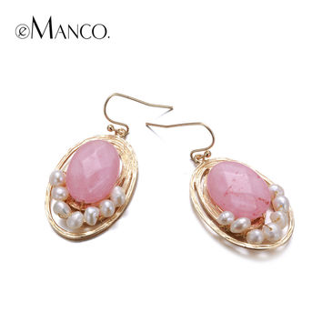 eManco gold plated round drop earrings stone handmade pearl beads geometric dangle earrings for women fashion jewelry brincos