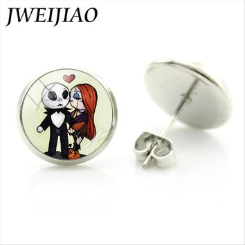 JWEIJIAO Cartoon Jack Skellington And Sally Stud Earrings The Nightmare Before Christmas Xmas Gift Jewelry Women Earrings J694