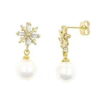Gold Layered Stud Earring, Ball and Flower Design, with Cubic Zirconia and Pearl, Gold Tone