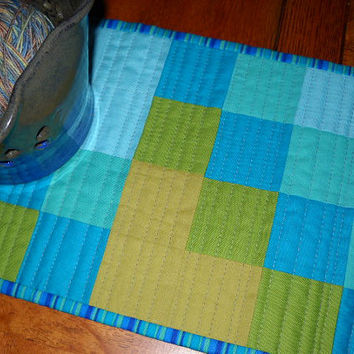 Modern Aqua Teal Green Patchwork Table Runner - Quilted Squares Table Topper