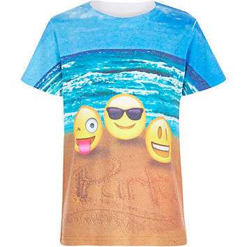 River Island Boys white beach emoji party t-shirt