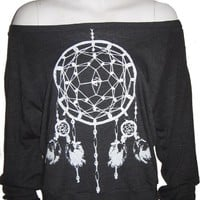 Ladies Raglan Tri-Black Pullover Top Sweatshirt American Apparel Dreamcatcher Art Print S M or L