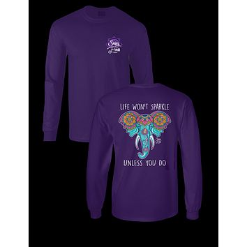 Sassy Frass Aztec Elephant Life Won't Sparkle Unless You Do Glitter Long Sleeves Girlie Bright T Shirt
