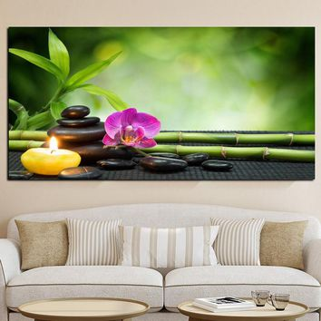 Canvas Painting Wall Art picture Decor SPA Stone Green Bamboo Pink 1 Panels Modern Zen Canvas Painting Prints Giclee Art
