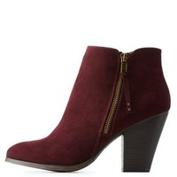 Wine Side-Zip Chunky Heel Booties by Charlotte Russe
