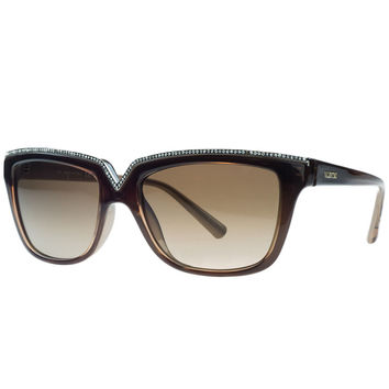 Valentino Brown Rectangular Sunglasses