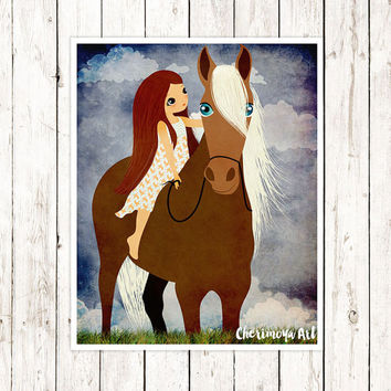Girl and Horse Print Horse Wall Art Baby Girl Nursery Decor Girl's Room Art Horse Art Wall Art Kids Art  Animal Theme Print Horse Decor Art