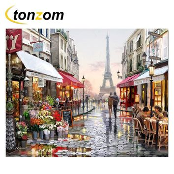 RIHE Paris Street Diy Painting By Numbers Shops Oil Painting Cuadros Decoracion Lover Acrylic Paint On Canvas Modern Wall Art