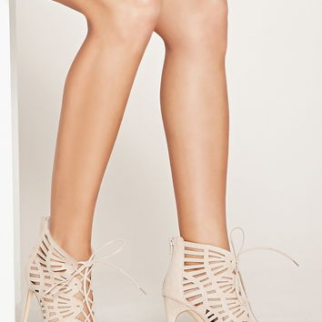 Faux Suede Lace-Up Stilettos