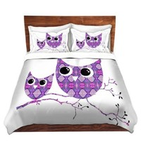 Duvet Cover Brushed Twill Twin, Queen, King SETs from DiaNoche Designs by Susie Kunzelman Unique Home Decor and Designer Bedding Ideas - Owl Argyle Purple