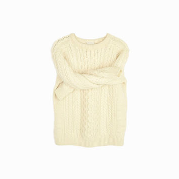 Vintage Irish Wool Fisherman Sweater in Cream Cable Knit / Carraig Donn Sweater - women's small