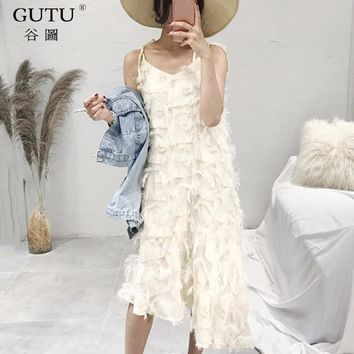 [GUTU] 2018 Spring Summer New Pattern Spaghetti Strap Tassel Mid-Calf Irregular Hem Double Lawyer Ladies Fashion Dress BA15300