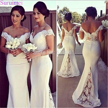 Lace Bridesmaid Dresses Off The Shoulder Vestido Satin Ivory Bridal Wedding Party Dress Gowns