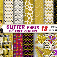 Gold Glitter digital paper, Clipart,frames,hearts,chevron, silver,bronze,colorful glitter,Scrapbooking Paper,patterns,background
